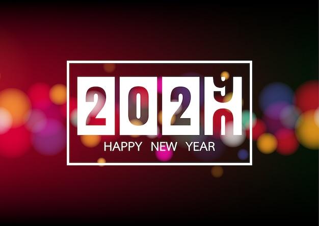 Szczęśliwego Nowego Roku 2020 Z Białymi światłami Bokeh Na Plakat świąteczny Premium Wektorów