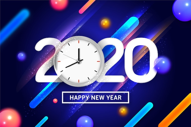 Szczęśliwego nowego roku 2020 z zegarem i dynamiczne tło Darmowych Wektorów