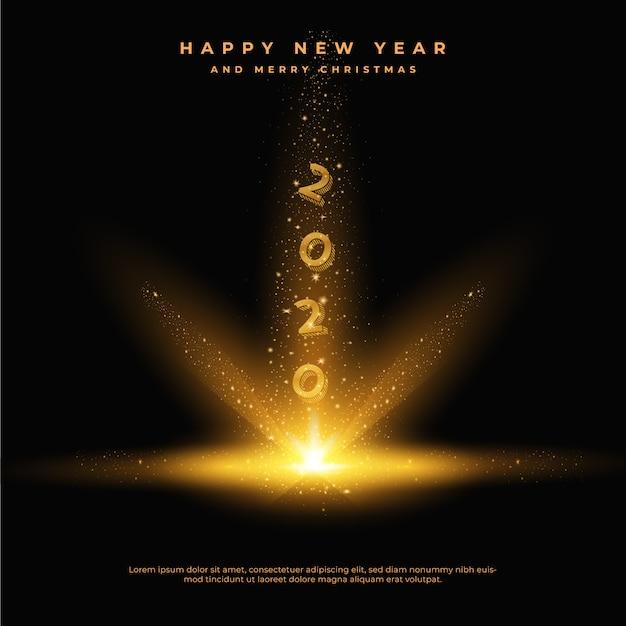 Szczęśliwego Nowego Roku 2020 Ze Złotymi Błyszczącymi Ogonami Kurzu, Kartkę Z życzeniami Premium Wektorów