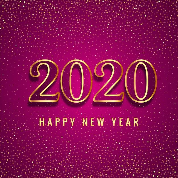 Szczęśliwego Nowego Roku 2020 Złoty Tekst Karty Błyskotek Darmowych Wektorów
