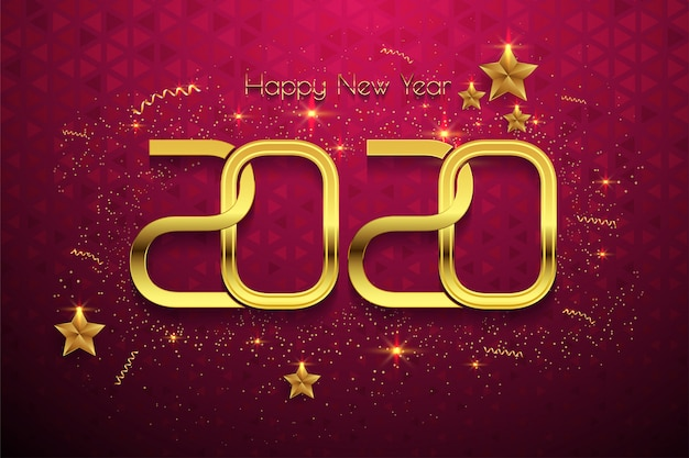 Szczęśliwego Nowego Roku 2020 Złoty Tekst Na Czerwonym Tle Premium Wektorów