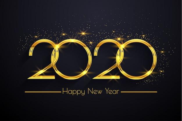 Szczęśliwego Nowego Roku 2020 Złoty Tekst Tło Premium Wektorów