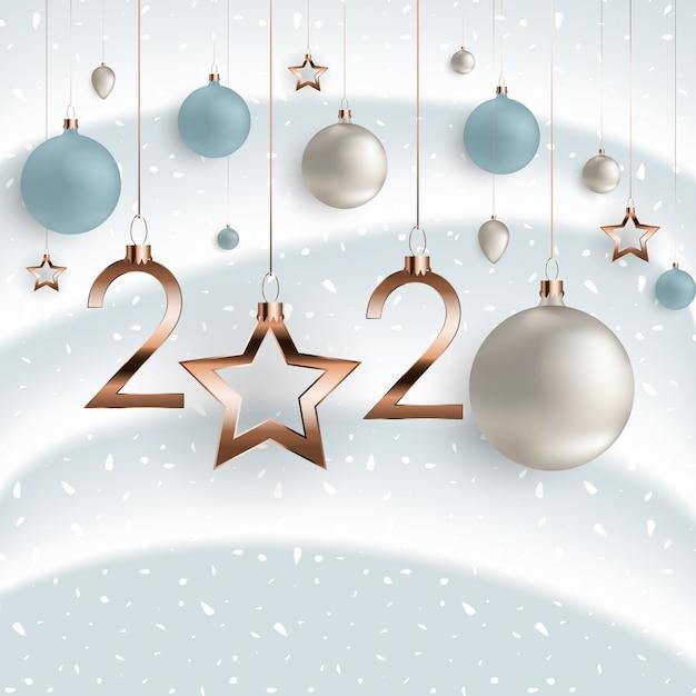 Szczęśliwego nowego roku 2020. Premium Wektorów