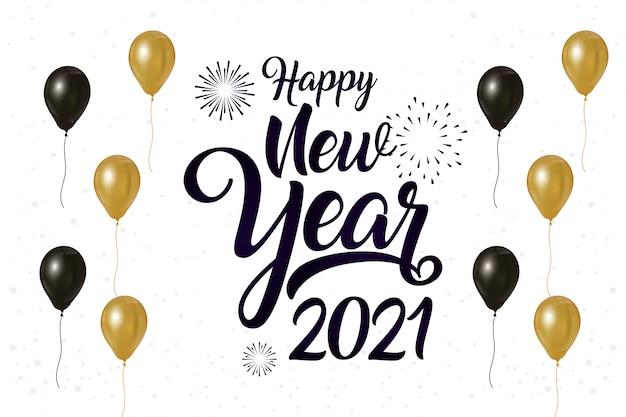 Szczęśliwego Nowego Roku 2021 Celebracja Plakat Z Balonów Helu Premium Wektorów