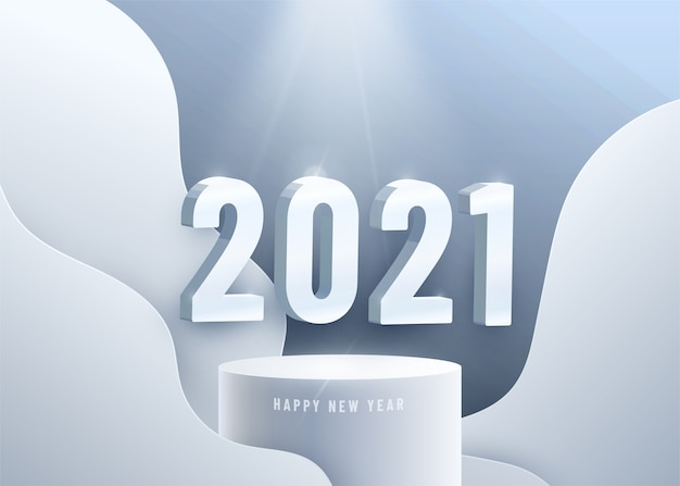 Szczęśliwego Nowego Roku 2021. Duże Liczby 3d Na Okrągłym Podium Darmowych Wektorów