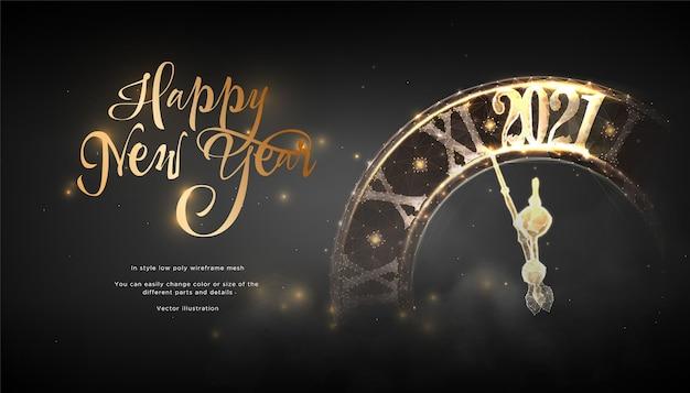 Szczęśliwego Nowego Roku 2021 Futurystyczny Baner. Zegar Wybija Dzwonek Premium Wektorów
