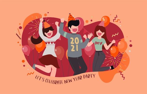 Szczęśliwego Nowego Roku 2021 Party Plakat Lub Baner Z Ikonami Pudełka Darmowych Wektorów