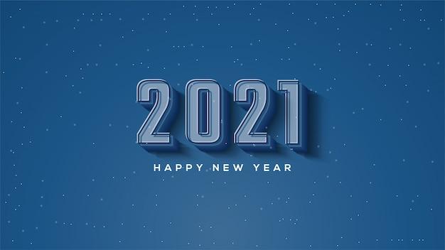 Szczęśliwego Nowego Roku 2021, Z Ilustracjami Postaci 3d W Kolorze Granatowym. Premium Wektorów