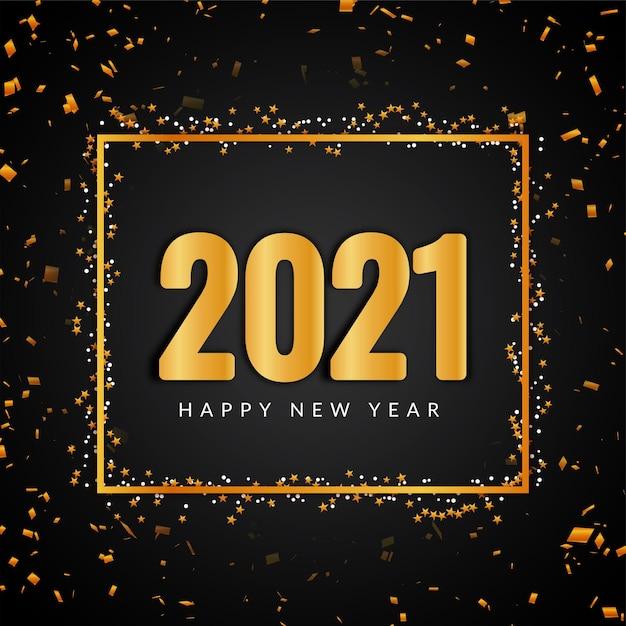 Szczęśliwego Nowego Roku 2021 Złoty Tekst Darmowych Wektorów