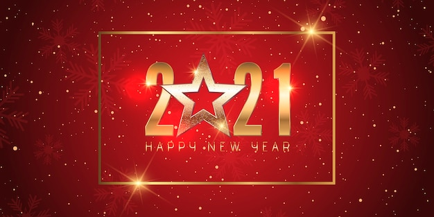 Szczęśliwego Nowego Roku Banner Z Eleganckim Czerwonym I Złotym Wzorem Darmowych Wektorów