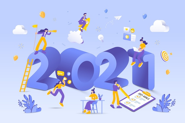 Szczęśliwego Nowego Roku Ilustracji Premium Wektorów