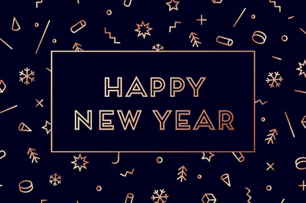 Szczęśliwego Nowego Roku. Kartkę Z życzeniami Szczęśliwego Nowego Roku. Geometryczny Jasny Złoty Styl Na Szczęśliwego Nowego Roku Premium Wektorów