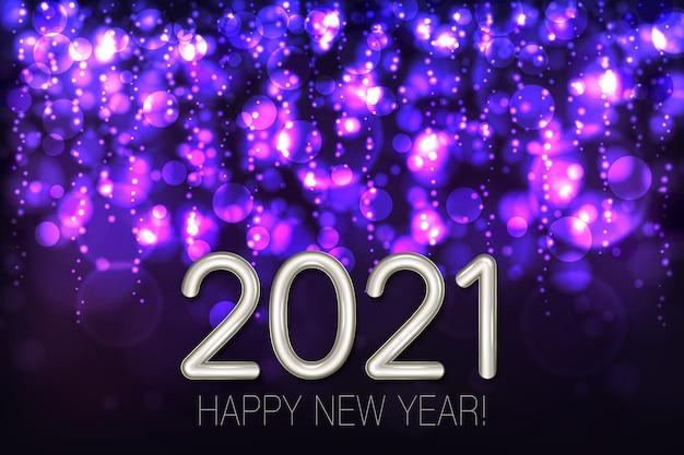Szczęśliwego Nowego Roku Lśniące Tło Z Fioletowym Brokatem I Konfetti. Premium Wektorów
