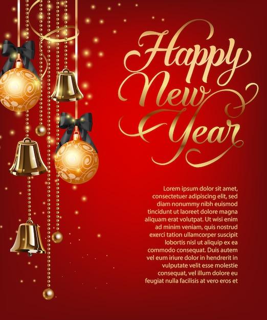 Szczęśliwego nowego roku napis z przykładowy tekst i bombki Darmowych Wektorów