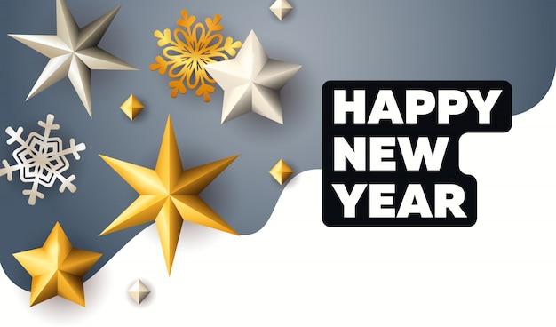 Szczęśliwego nowego roku napis ze złotymi gwiazdami i płatki śniegu Darmowych Wektorów