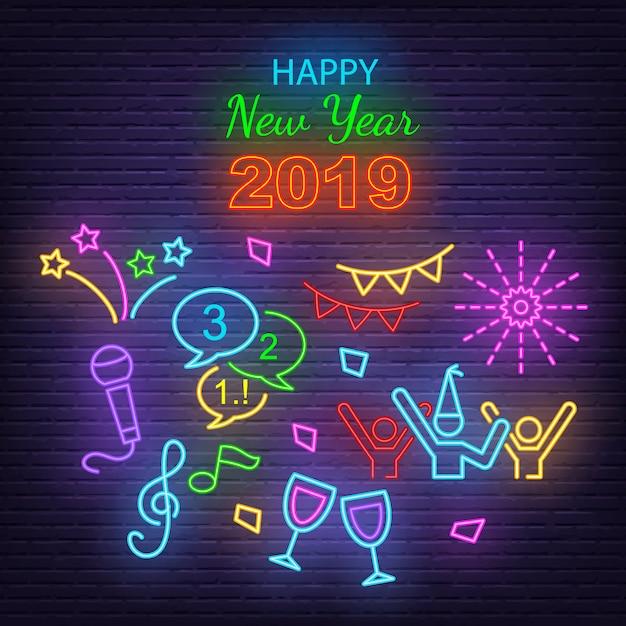 Szczęśliwego nowego roku neon ikony Premium Wektorów
