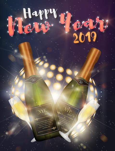 Szczęśliwego nowego roku plakat disco Premium Wektorów