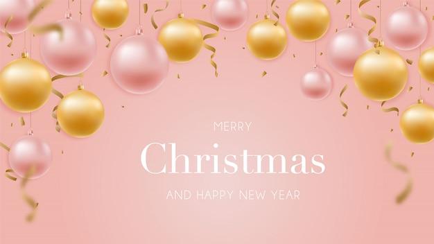 Szczęśliwego Nowego Roku Pozdrowienie Transparent Z Błyszczącymi Złotymi I Różowo-złotymi Kulkami. Premium Wektorów