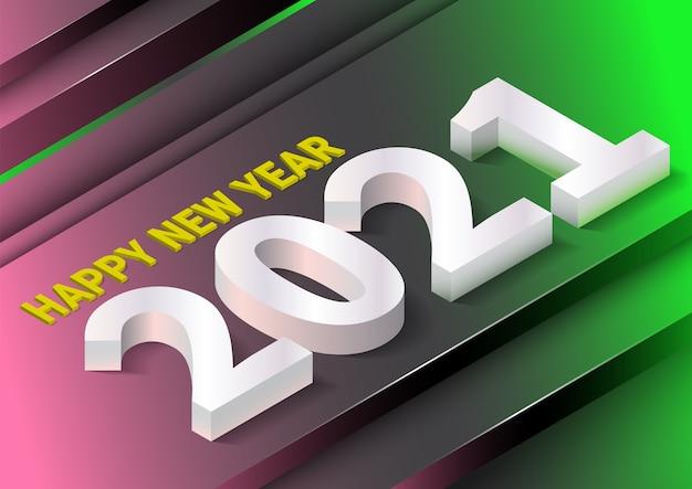 Szczęśliwego Nowego Roku Tło Z Realistycznym Stylem Izometrycznym. Premium Wektorów