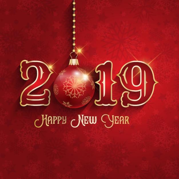 Szczęśliwego nowego roku tło z wiszącym cacko Darmowych Wektorów