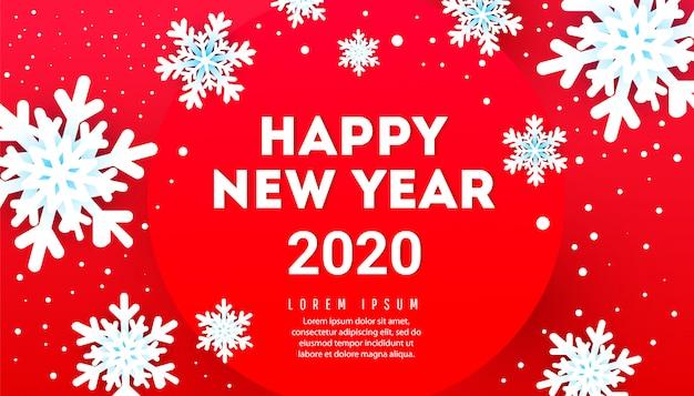 Szczęśliwego Nowego Roku Transparent Z Płatki śniegu I Tekst Na Czerwonym Tle Premium Wektorów
