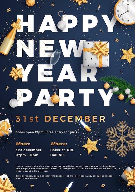 Szczęśliwego Nowego Roku Układ Strony Plakat Plakat Lub Szablon Ulotki. Premium Wektorów
