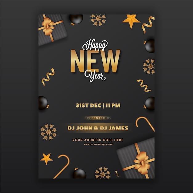 Szczęśliwego Nowego Roku Ulotka Lub Szablon Projektu W Kolorze Czarnym I Złotym Premium Wektorów