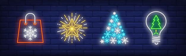 Szczęśliwego Nowego Roku W Kolekcji W Stylu Neonowym Darmowych Wektorów