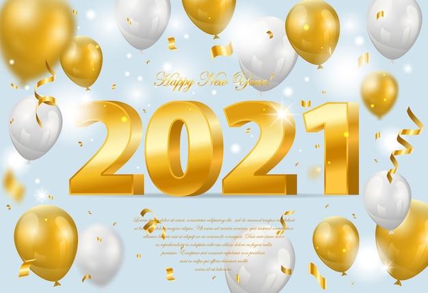 Szczęśliwego Nowego Roku. Wakacyjna Ilustracja Złote Metalowe Cyfry Z Balonami I Konfetti Premium Wektorów