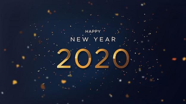 Szczęśliwego nowego roku z fantazyjnym złotym tekstem Premium Wektorów