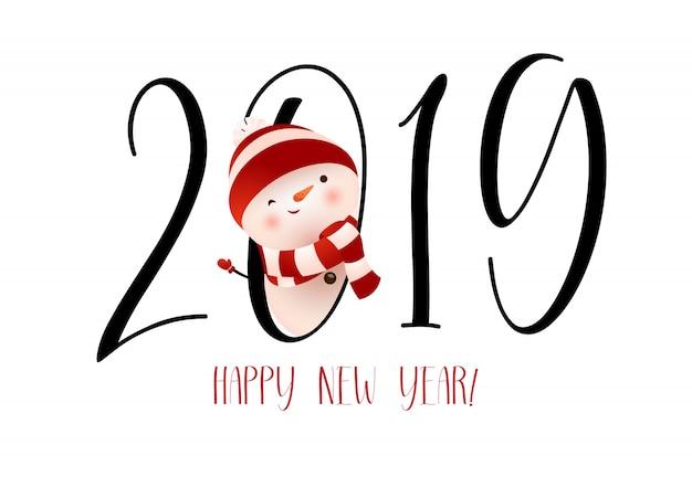 Szczęśliwego nowego roku z mrugając projekt transparent bałwana Darmowych Wektorów