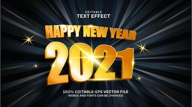 Szczęśliwego Nowego Roku Złoty Efekt Tekstowy Darmowych Wektorów