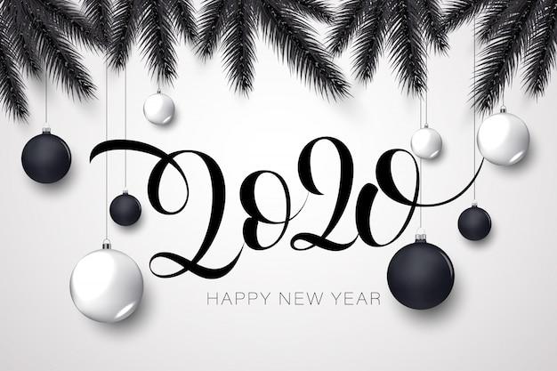 Szczęśliwego Nowego Roku Złoty I Czarny Premium Wektorów