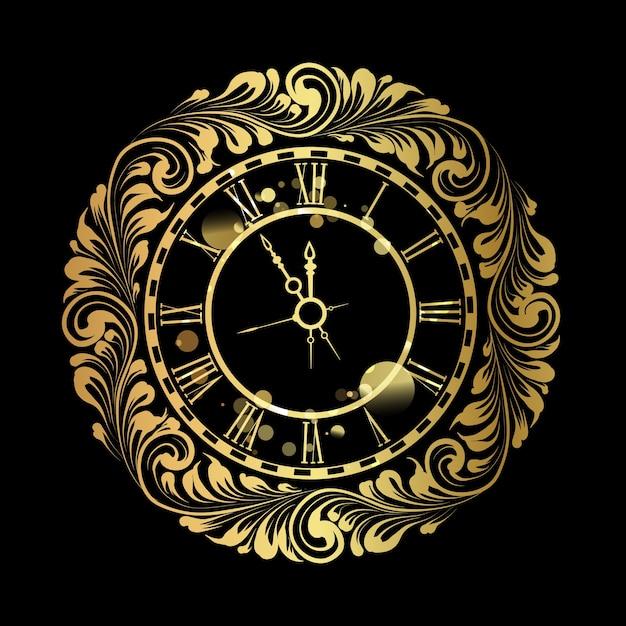 Szczęśliwego Nowego Roku Złoty Zegar Na Czarnym Tle. Darmowych Wektorów