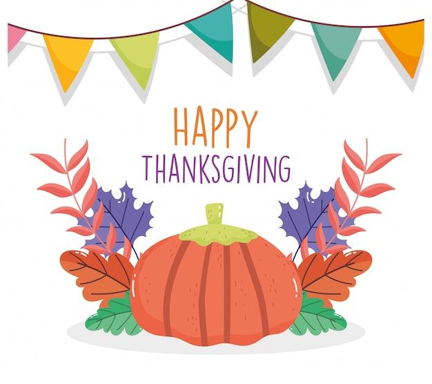 Szczęśliwego święta Dziękczynienia Uroczystości Proporczyki Dyni Liści Jesienią Premium Wektorów