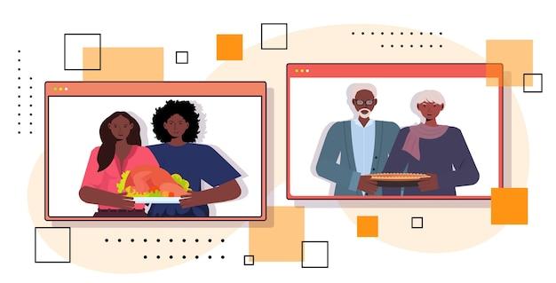 Szczęśliwego święta Dziękczynienia W Oknach Przeglądarki Internetowej Dziadkowie Dyskutują Z Dziećmi Podczas Koncepcji Połączenia Wideo Premium Wektorów