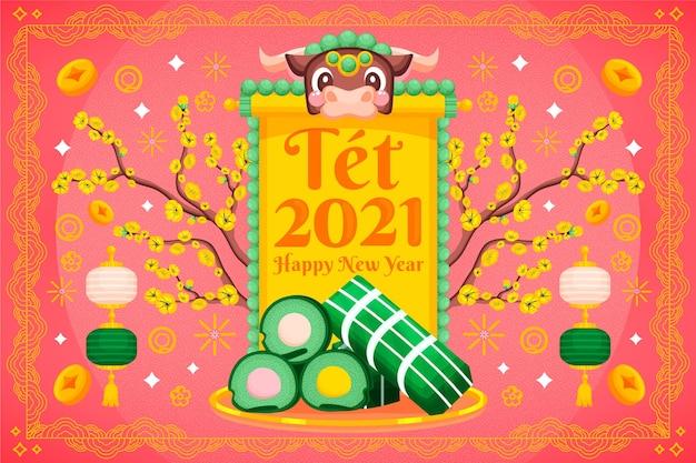 Szczęśliwego Wietnamskiego Nowego Roku Księżycowego Z Tet Cake Darmowych Wektorów