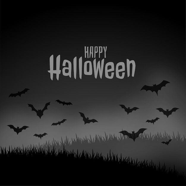 Szczęśliwej halloween nocy straszna scena z latającymi nietoperzami Darmowych Wektorów