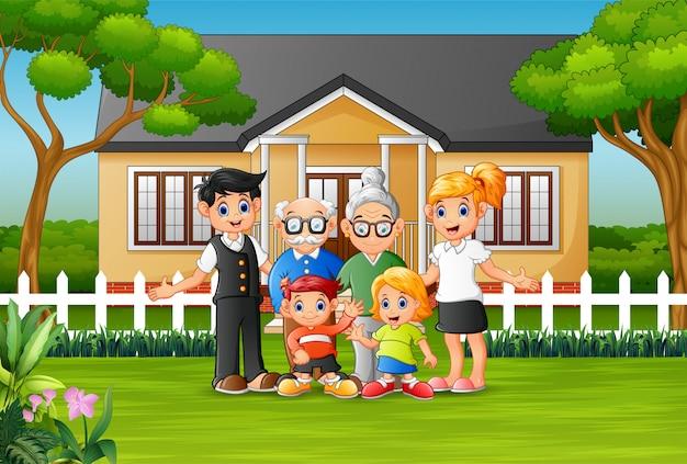 Szczęśliwi członkowie rodziny na podwórku domu Premium Wektorów