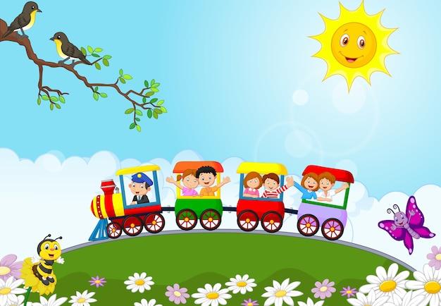 Szczęśliwi Dzieciaki Na Kolorowym Pociągu Premium Wektorów