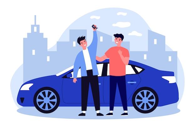 Szczęśliwi Faceci świętują Kupno Samochodu Premium Wektorów