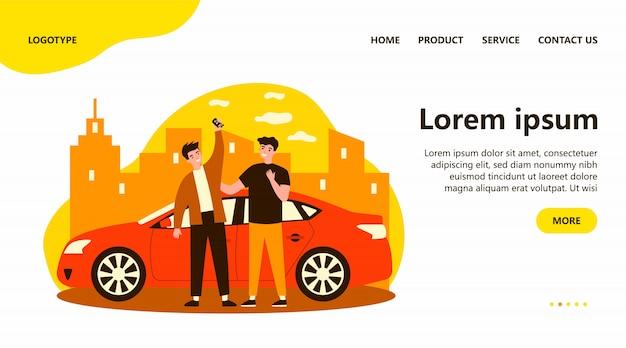 Szczęśliwi Faceci świętują Zakup Samochodu Premium Wektorów