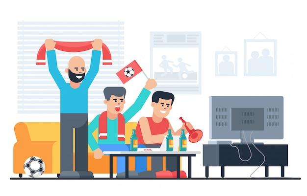 Szczęśliwi Fan Piłki Nożnej W Mieszkanie Płaskiej Wektorowej Ilustraci Premium Wektorów