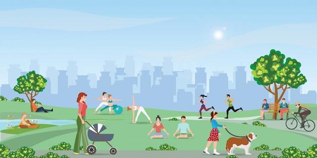Szczęśliwi ludzie cieszy się przy parkiem. Premium Wektorów