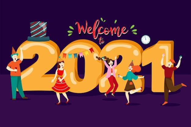 Szczęśliwi Ludzie Lub Pracownicy Biurowi, Pracownicy Mają Wielkie Liczby 2021. Grupa Przyjaciół Lub Zespół życzy Wesołych świąt I Szczęśliwego Nowego Roku Darmowych Wektorów