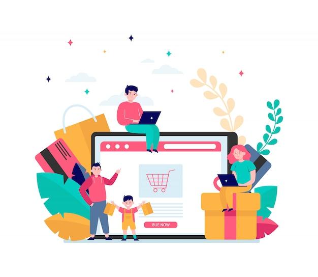 Szczęśliwi Ludzie Robią Zakupy Online Darmowych Wektorów
