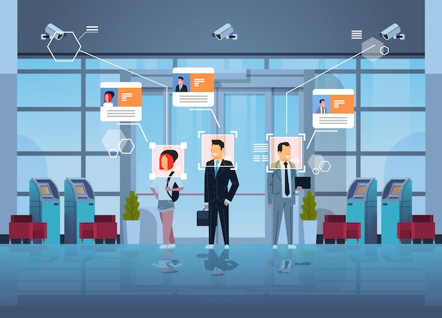 Szczęśliwi Ludzie Stojący Dział Finansowy Z Bankomatami Identyfikacja Nadzoru Inwigilacja Cctv Rozpoznawanie Twarzy Centrum Biznesowe Hala Wewnętrzny System Kamer Bezpieczeństwa Premium Wektorów
