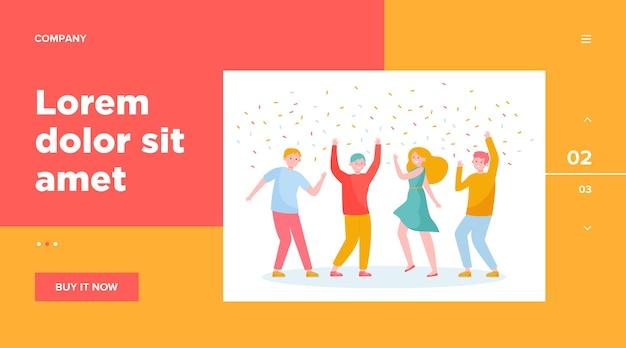 Szczęśliwi Ludzie Tańczą Na Imprezie Razem Szablon Sieci Web. Kreskówka Podekscytowani Przyjaciele Lub Współpracownicy świętują Z Konfetti Darmowych Wektorów