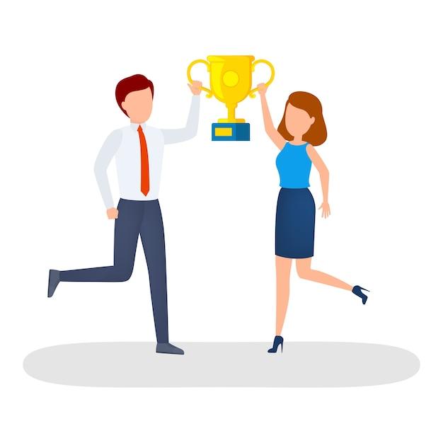 Szczęśliwi Ludzie Z Złoty Puchar Trofeum świętują Sukces. Premium Wektorów