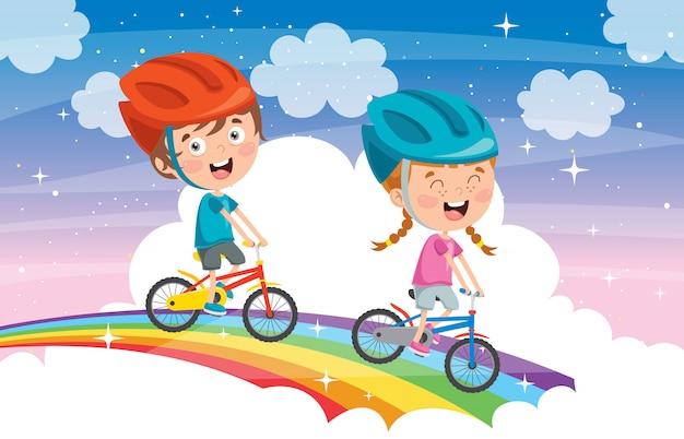 Szczęśliwi Małe Dzieci Jedzie Bicykl Na Tęczy Premium Wektorów